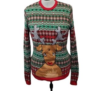Blizzard Bay Ugly Christmas Sweater Reindeer Drink Pocket Size XXL Unisex